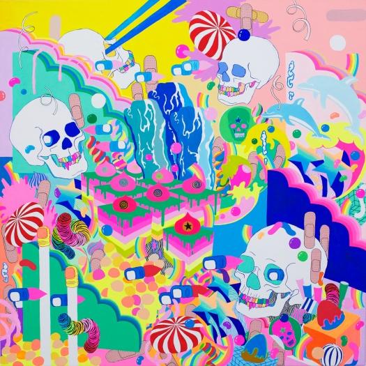 "Magic Volcano / 32""x32"" / Acrylic on Canvas / 2018"